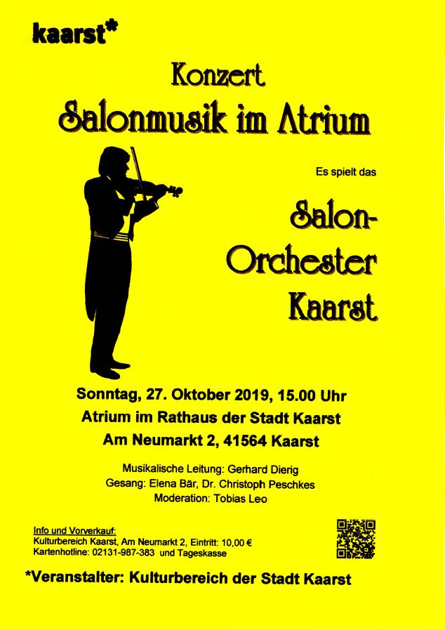 Salonorchester Kaarst Konzertplakat 27.10.2019